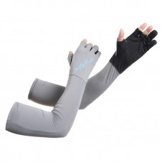 UV Protection Cooling Arm Sleeves Separate Fingers Fishing Gloves for Men or Women - for Outdoor Sports Gray