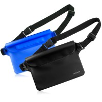 Waterproof Pouch 2 Pack with Waist Strap - Keep Your Phone Wallet License Safe and Dry (Black & Blue)